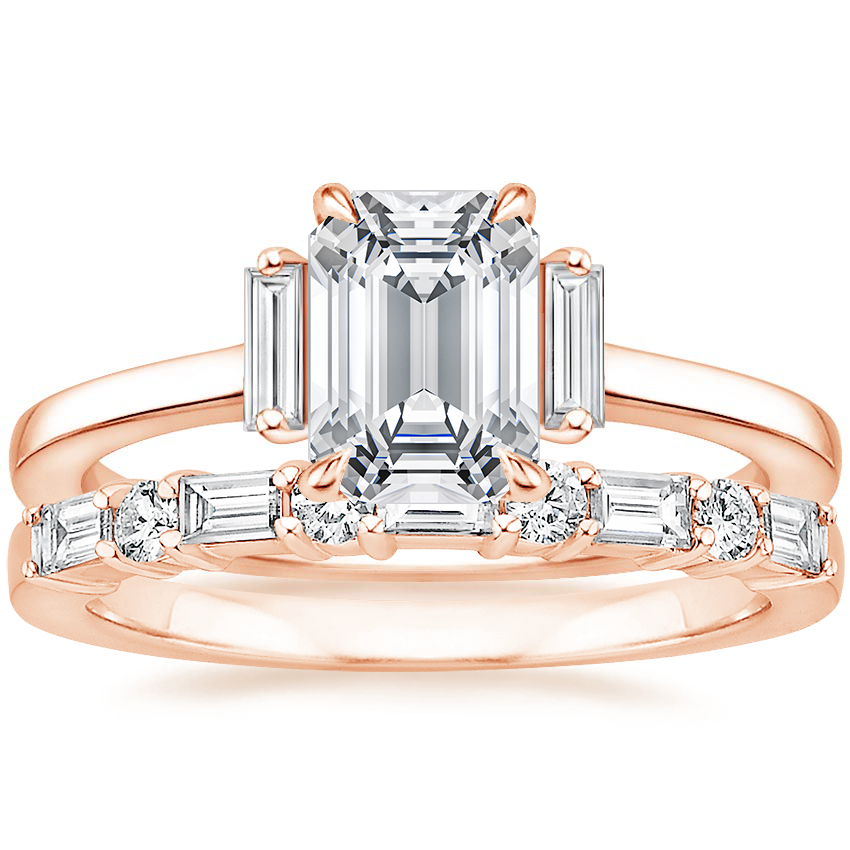 14K Rose Gold Piper Diamond Ring with Leona Diamond Ring (1/3 ct. tw.)
