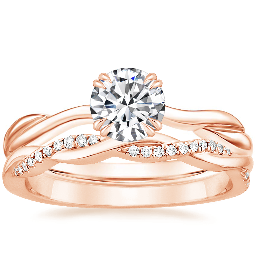 14K Rose Gold Alouette Ring with Petite Twisted Vine Diamond Ring (1/8 ct. tw.)