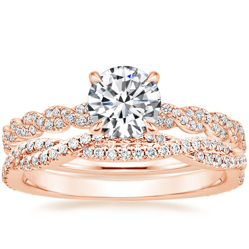 14K Rose Gold Cadence Diamond Ring with Petite Luxe Twisted Vine Diamond Ring (1/4 ct. tw.)