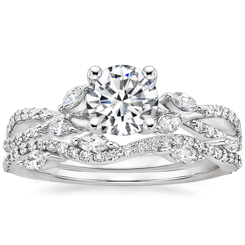 Platinum Luxe Willow Diamond Ring (1/3 ct. tw.) with Luxe Winding Willow Diamond Ring (1/4 ct. tw.)