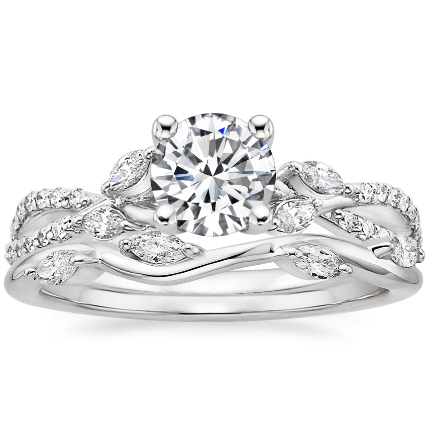 18K White Gold Luxe Willow Diamond Ring (1/4 ct. tw.) with Winding Willow Diamond Ring (1/8 ct. tw.)