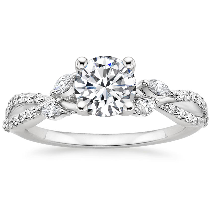Round Diamond Vine Engagement Ring
