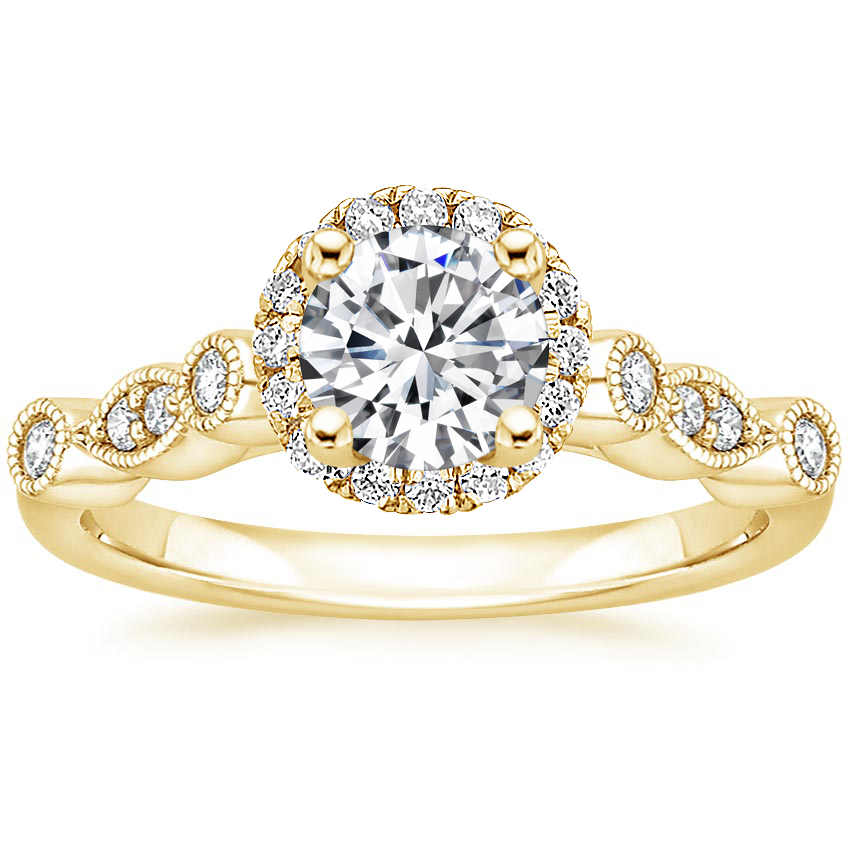 Round 18K Yellow Gold Tiara Halo Diamond Ring (1/4 ct. tw.)