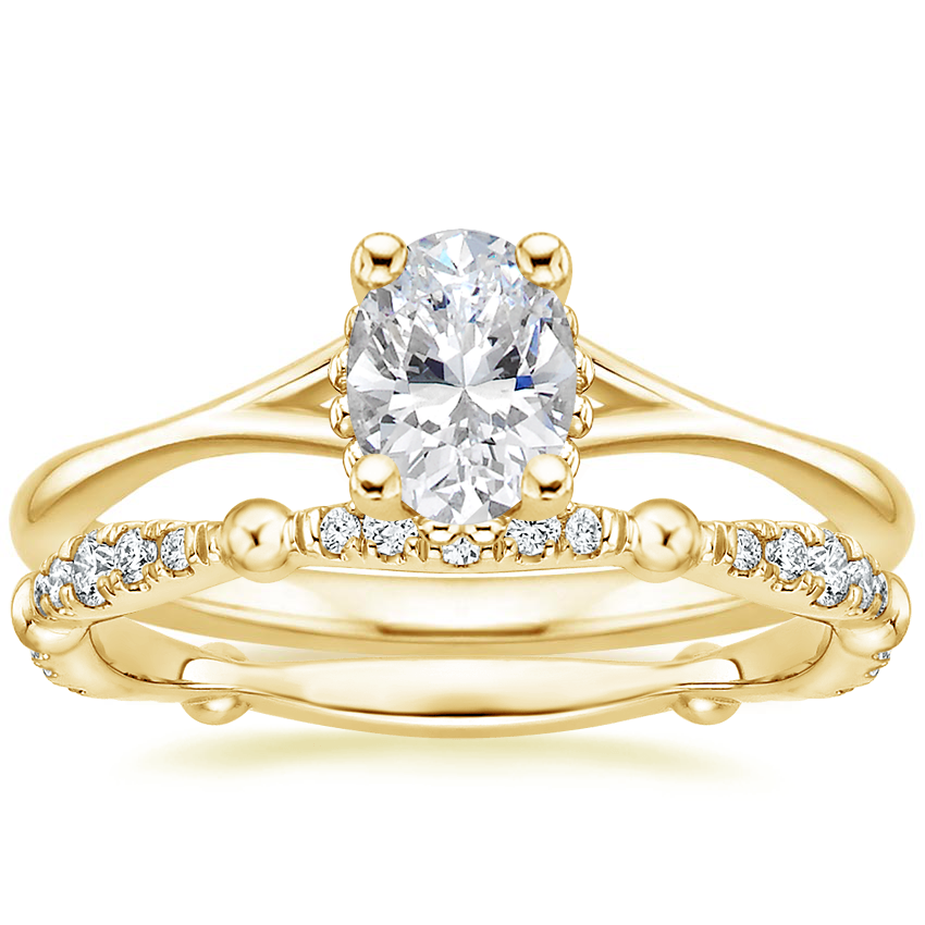 18K Yellow Gold Cava Ring with Dolce Diamond Ring