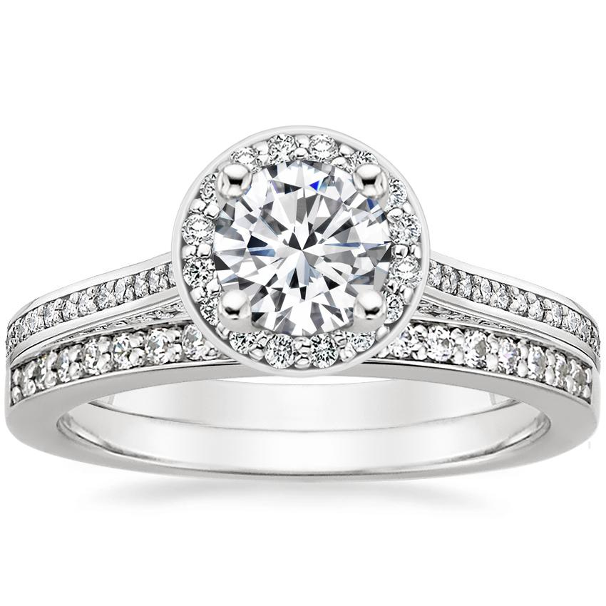 Platinum Enchant Halo Diamond Ring with Starlight Diamond Ring (1/8 ct. tw.)