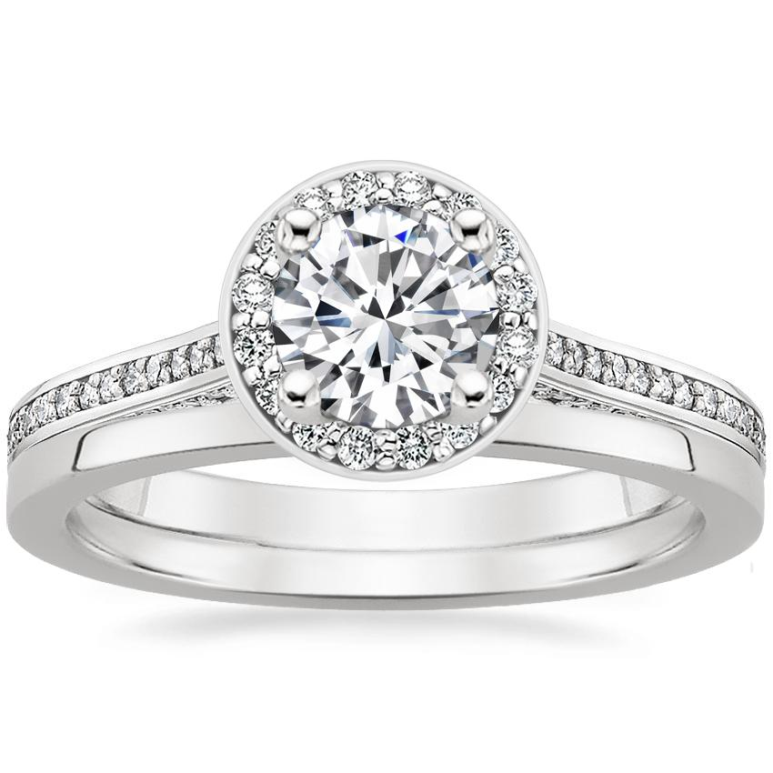 Platinum Enchant Halo Diamond Ring with Petite Quattro Wedding Ring