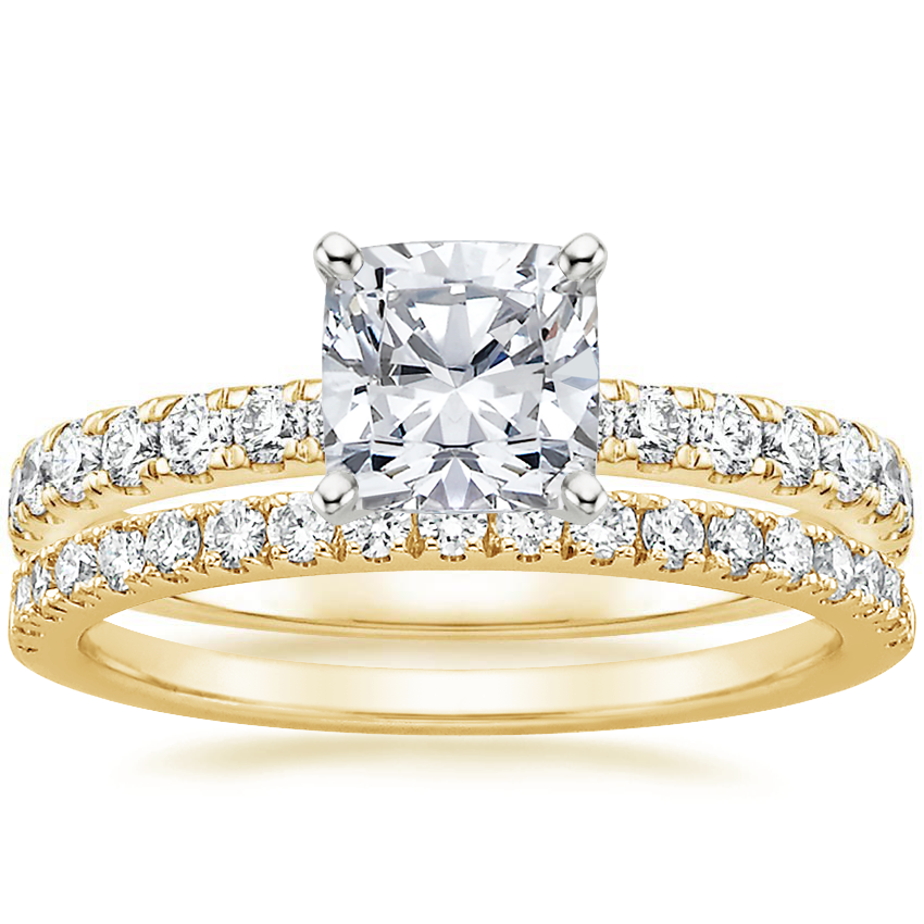 18K Yellow Gold Constance Diamond Ring (1/3 ct. tw.) with Bliss Diamond Ring (1/5 ct. tw.)