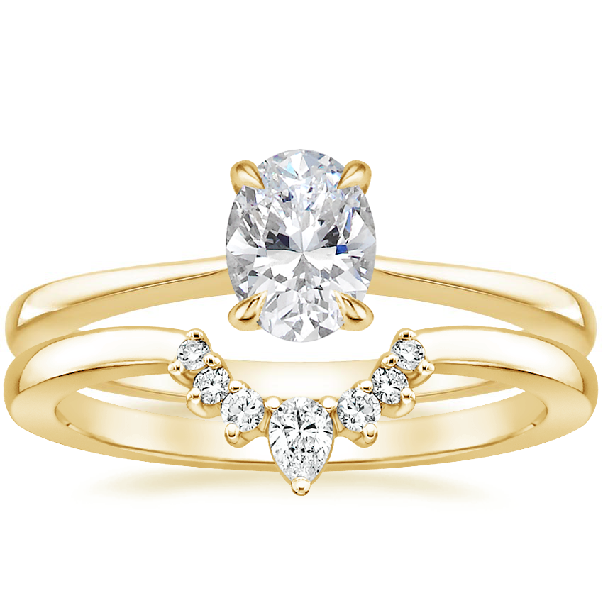 18K Yellow Gold Elle Ring with Lunette Diamond Ring
