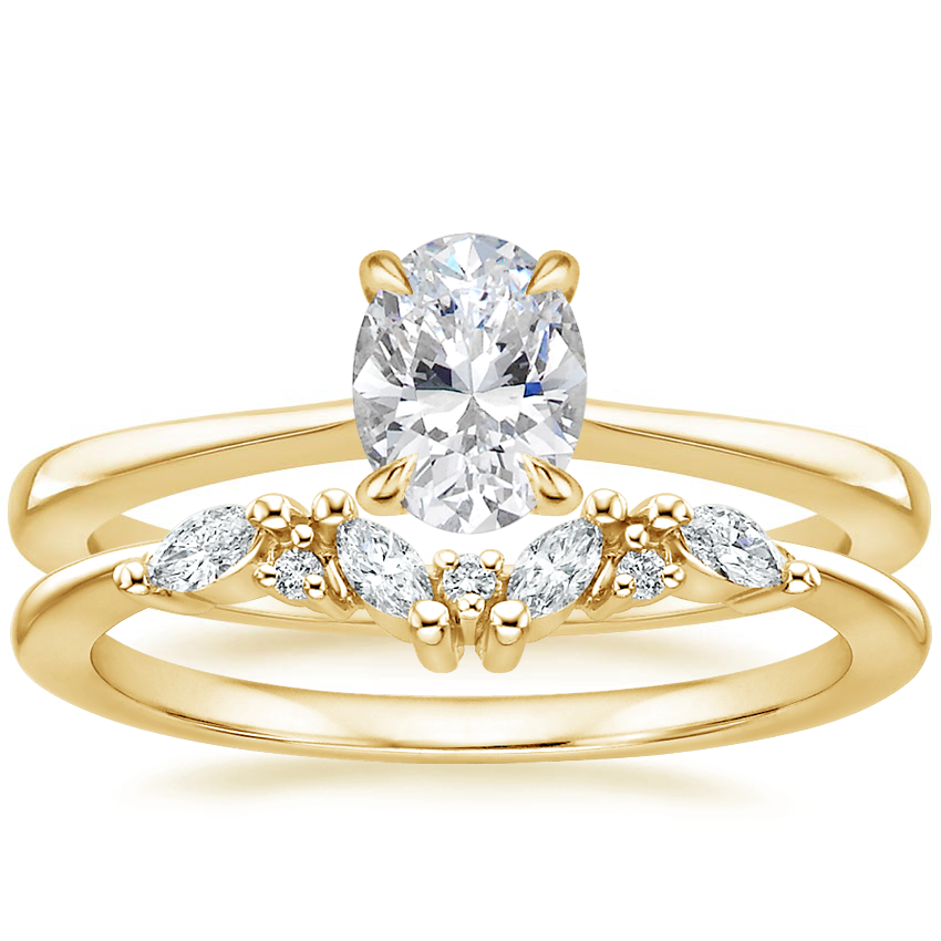 18K Yellow Gold Elle Ring with Yvette Diamond Ring
