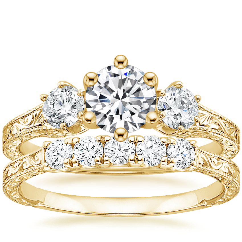18K Yellow Gold Three Stone Hudson Diamond Ring (1/3 ct. tw.) with Hudson Five Stone Diamond Ring (1/4 ct. tw.)