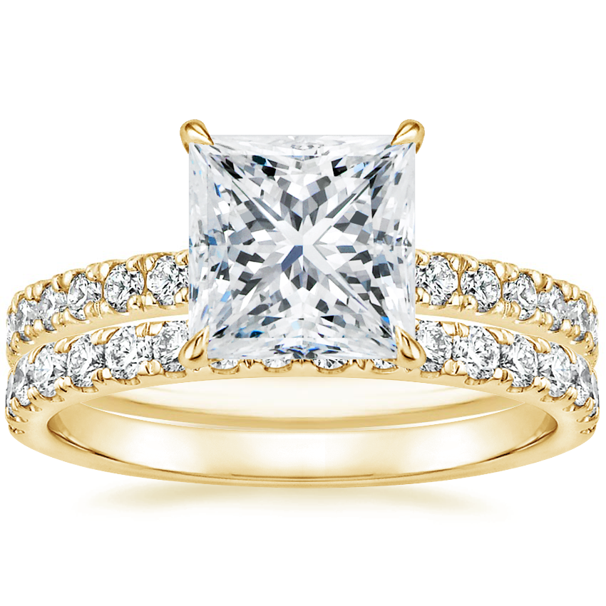18K Yellow Gold Clara Diamond Ring with Constance Diamond Ring (1/3 ct. tw.)
