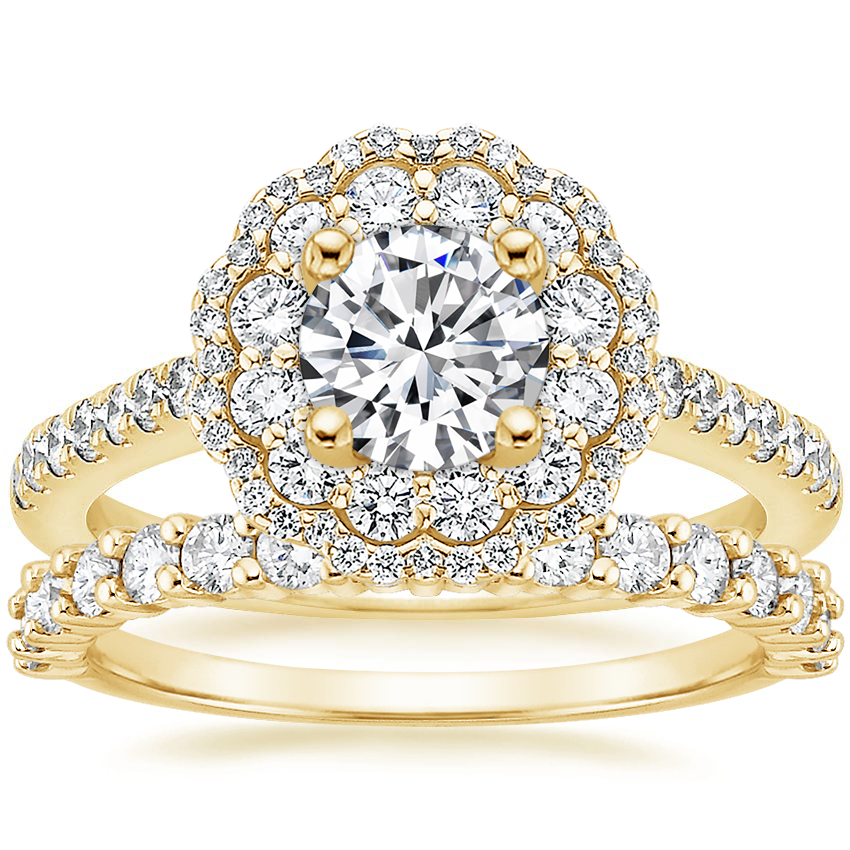 18K Yellow Gold Rosa Diamond Ring with Shared Prong Diamond Ring (2/5 ct. tw.)