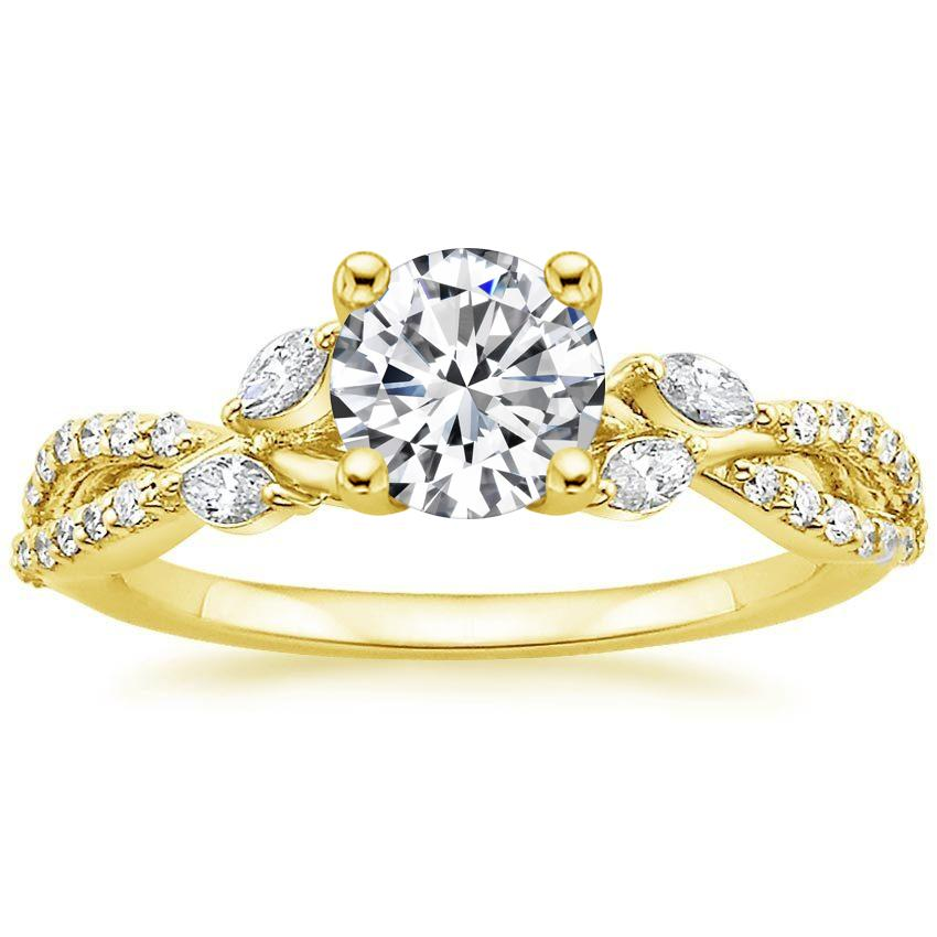18K Yellow Gold Luxe Willow Diamond Ring (1/3 ct. tw.), top view