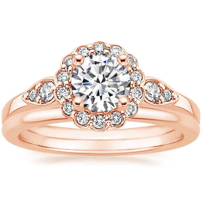 14K Rose Gold Camillia Diamond Ring with Petite Comfort Fit Wedding Ring