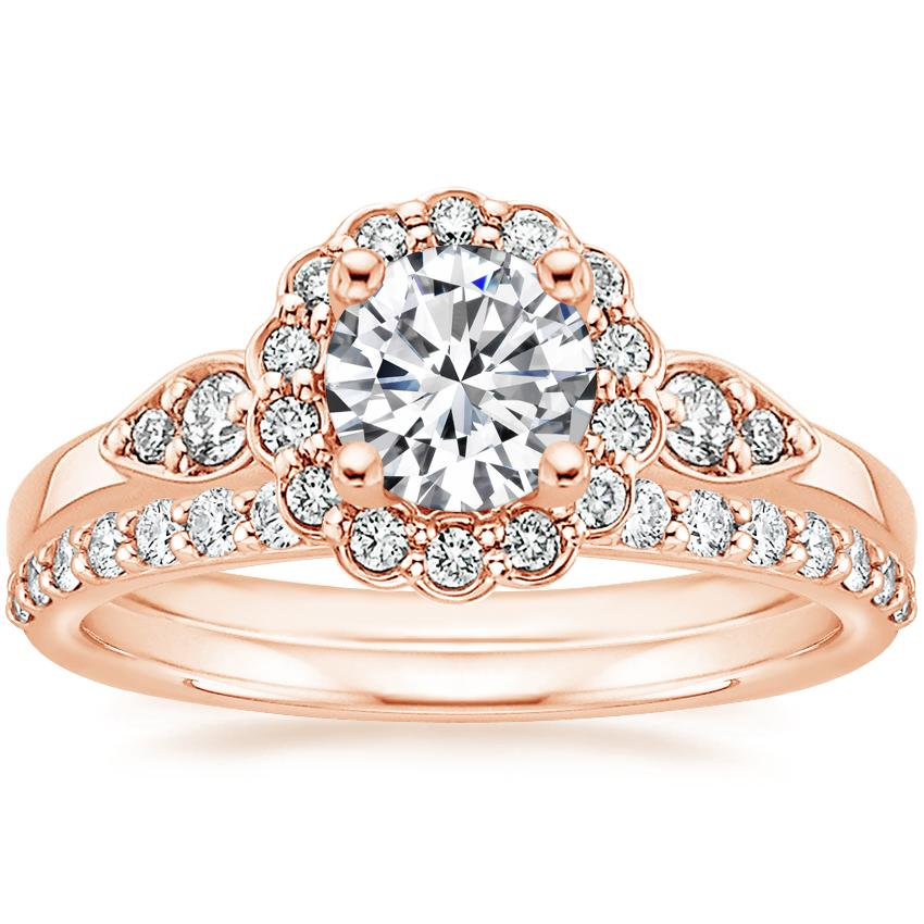 14K Rose Gold Camillia Diamond Ring with Petite Shared Prong Diamond Ring (1/4 ct. tw.)