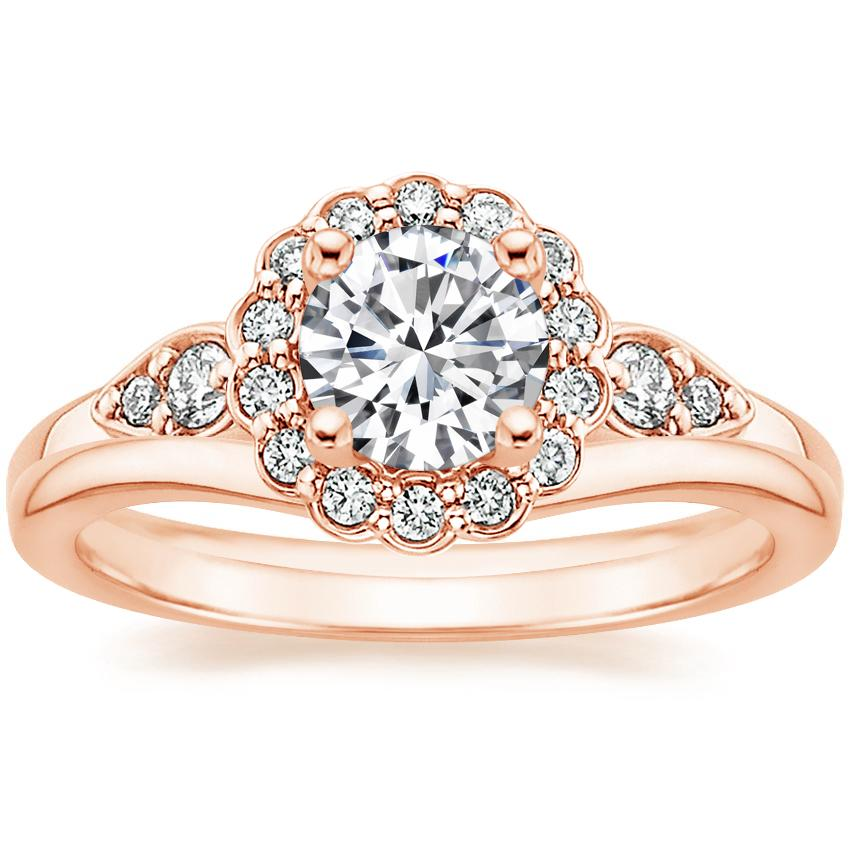 14K Rose Gold Camillia Diamond Ring (1/3 ct. tw.) with Petite Curved Wedding Ring