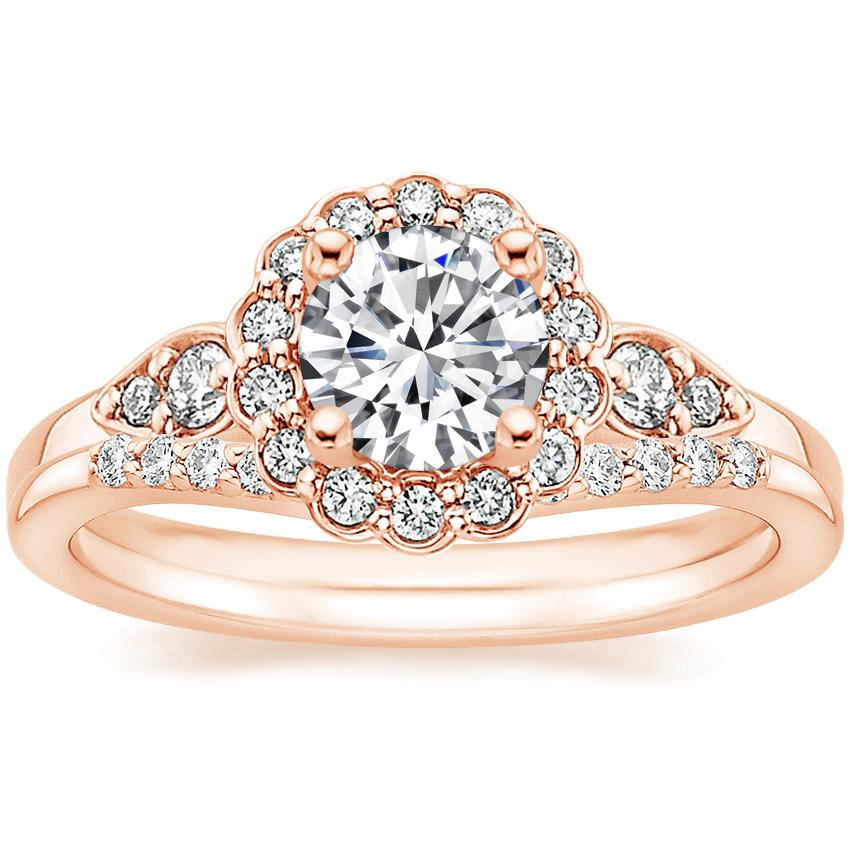14K Rose Gold Camillia Diamond Ring (1/3 ct. tw.) with Petite Curved Diamond Ring