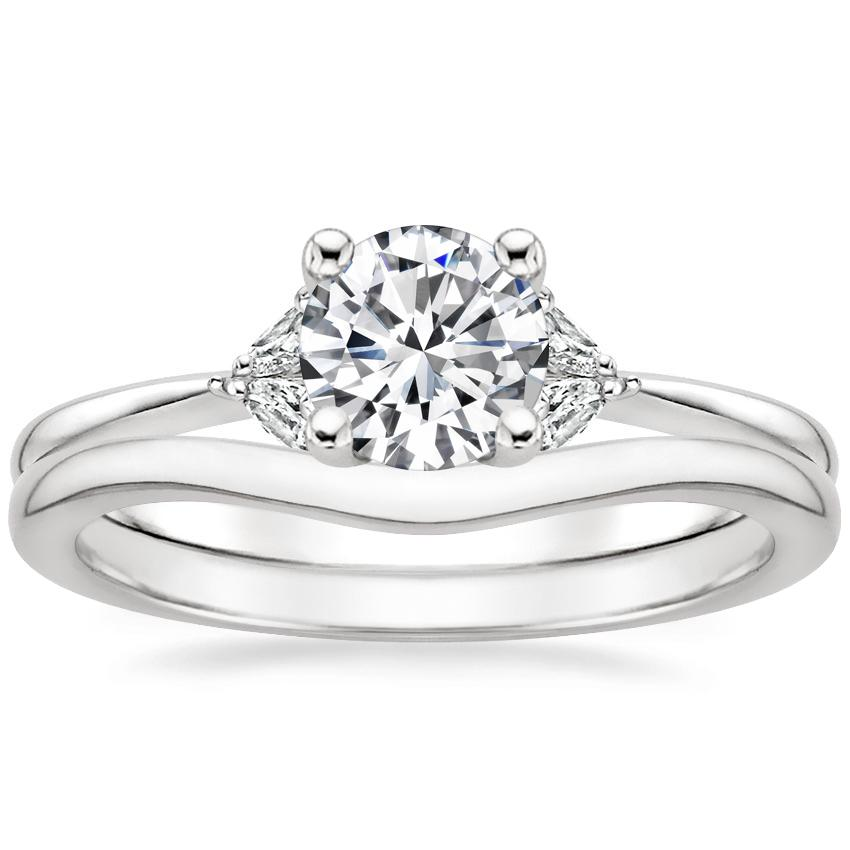 18K White Gold Faye Diamond Ring with Petite Curved Wedding Ring