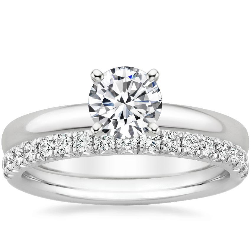 18K White Gold 2.5mm Comfort Fit Ring with Amelie Diamond Ring (1/3 ct. tw.)