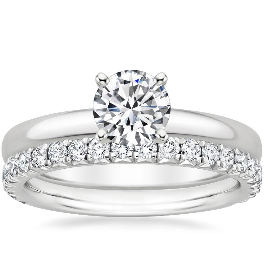 Platinum 2.5mm Comfort Fit Ring with Luxe Amelie Diamond Ring (1/2 ct. tw.)