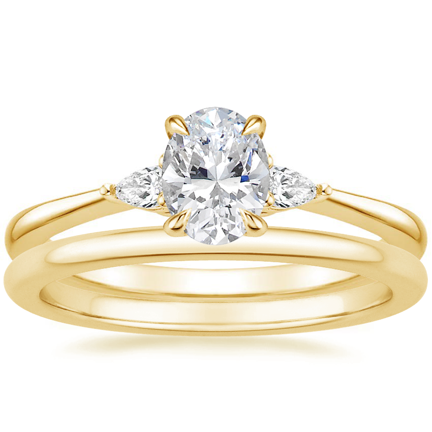 18K Yellow Gold Aria Diamond Ring with Petite Comfort Fit Wedding Ring