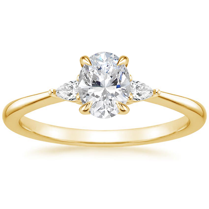 Oval 18K Yellow Gold Aria Diamond Ring (1/10 ct. tw.)