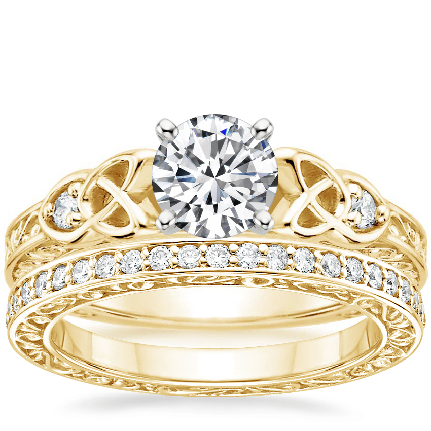 18K Yellow Gold Aberdeen Diamond Ring with Delicate Antique Scroll Eternity Diamond Ring (2/5 ct. tw.)