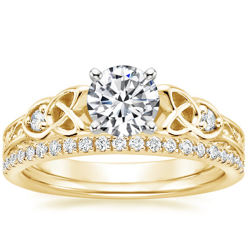 18K Yellow Gold Aberdeen Diamond Ring with Ballad Diamond Ring (1/6 ct. tw.)