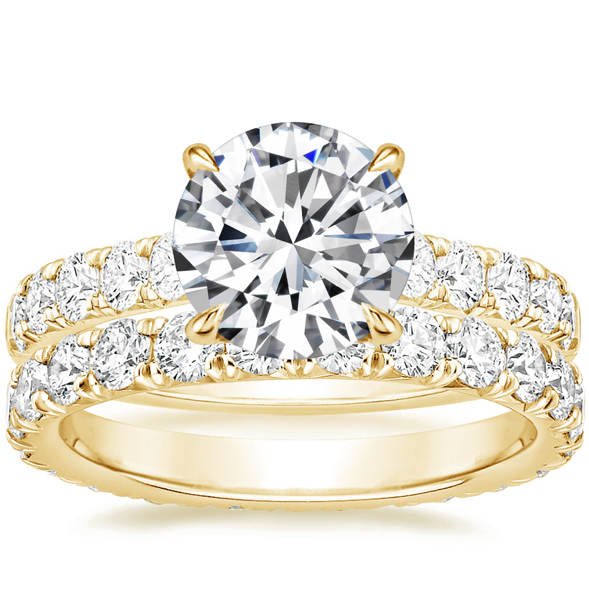18K Yellow Gold Luxe Anthology Diamond Ring (1/2 ct. tw.) with Luxe Anthology Eternity Diamond Ring (1 1/3 ct. tw.)