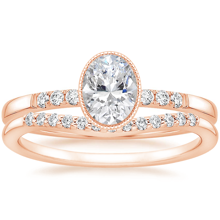 14K Rose Gold Imogen Diamond Ring with Petite Curved Diamond Ring (1/10 ct. tw.)