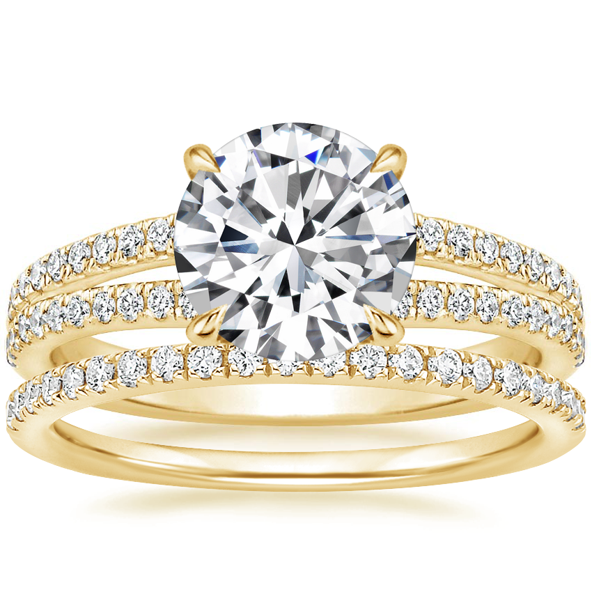 18K Yellow Gold Mirra Diamond Ring (1/4 ct. tw.) with Ballad Diamond Ring (1/6 ct. tw.)