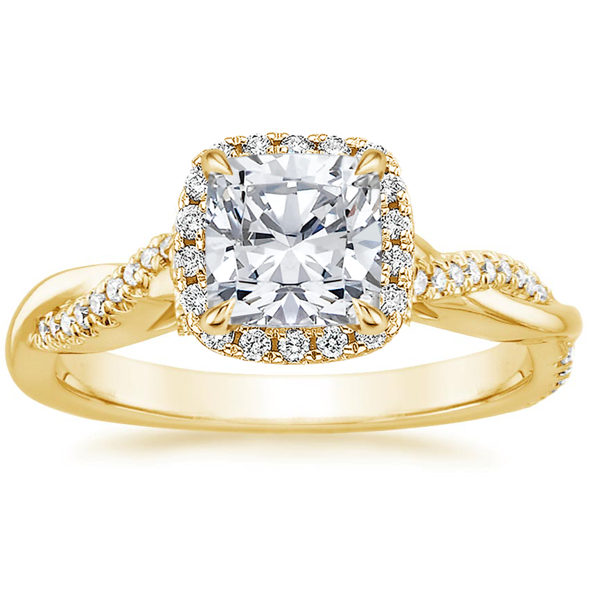 Cushion 18K Yellow Gold Petite Twisted Vine Halo Diamond Ring (1/4 ct. tw.)