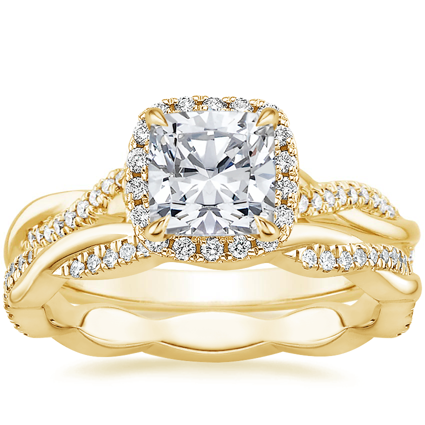 18K Yellow Gold Petite Twisted Vine Halo Diamond Ring (1/4 ct. tw.) with Petite Twisted Vine Eternity Diamond Ring (1/5 ct. tw.)