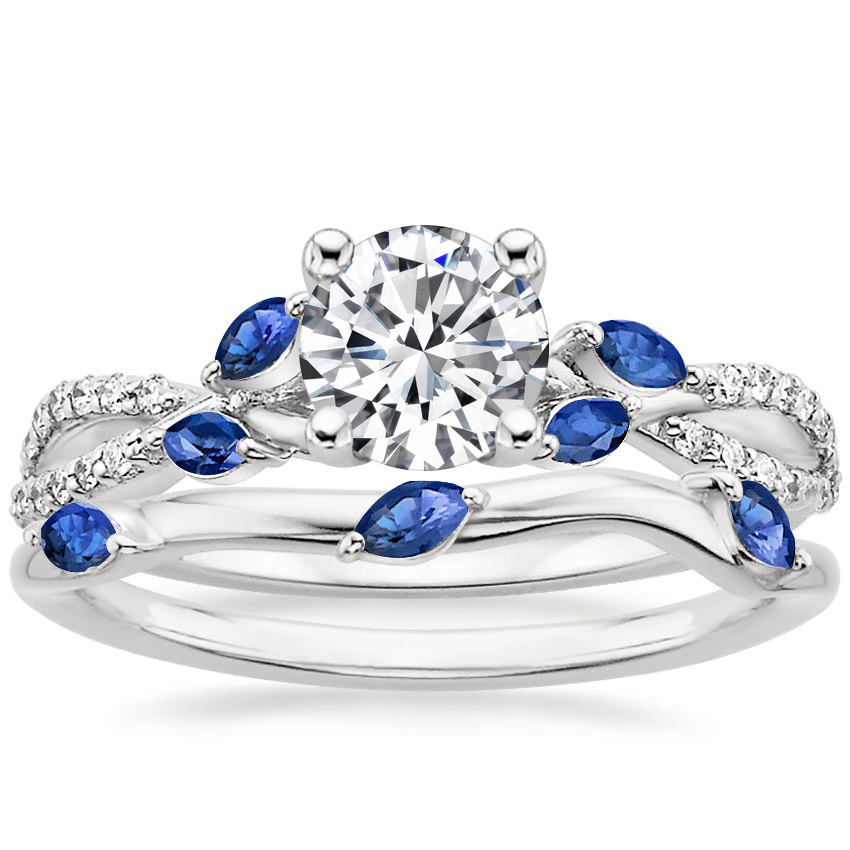 18K White Gold Luxe Willow Sapphire and Diamond Ring (1/8 ct. tw.) with Willow Ring With Sapphire Accents