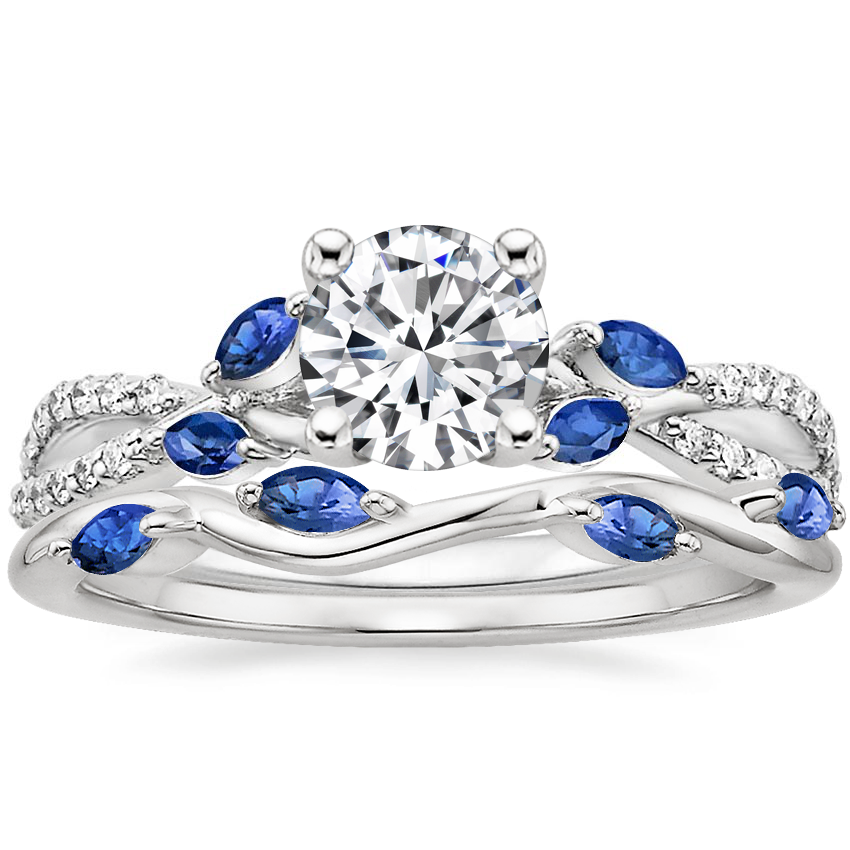 Platinum Luxe Willow Sapphire and Diamond Ring (1/8 ct. tw.) with Winding Willow Sapphire Ring