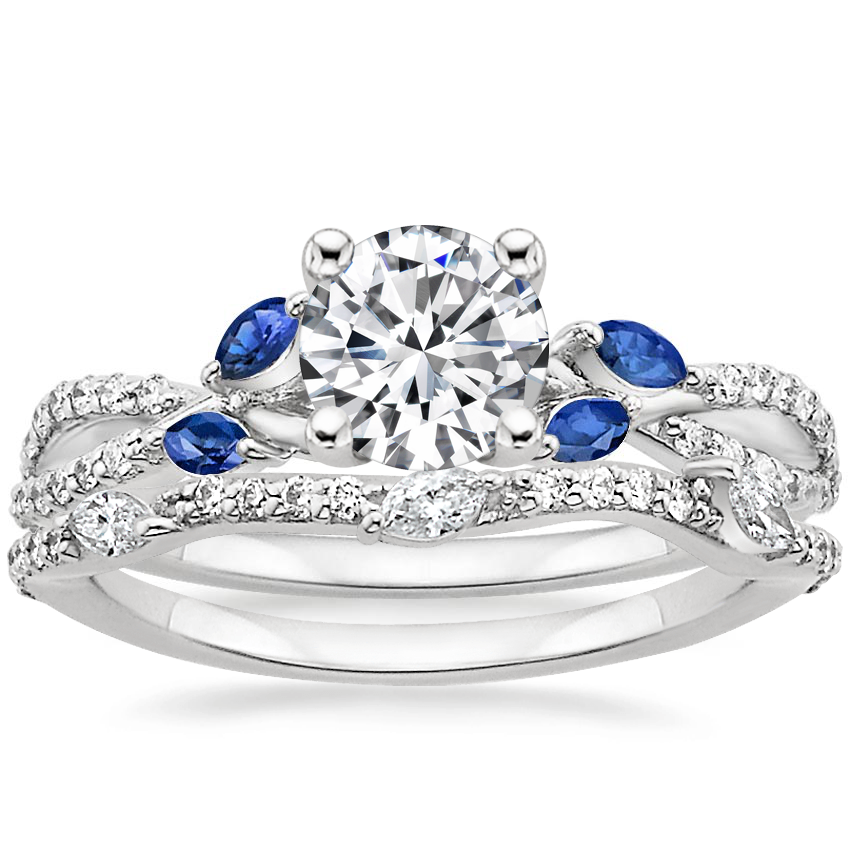 18K White Gold Luxe Willow Sapphire and Diamond Ring (1/8 ct. tw.) with Luxe Willow Diamond Ring (1/5 ct. tw.)