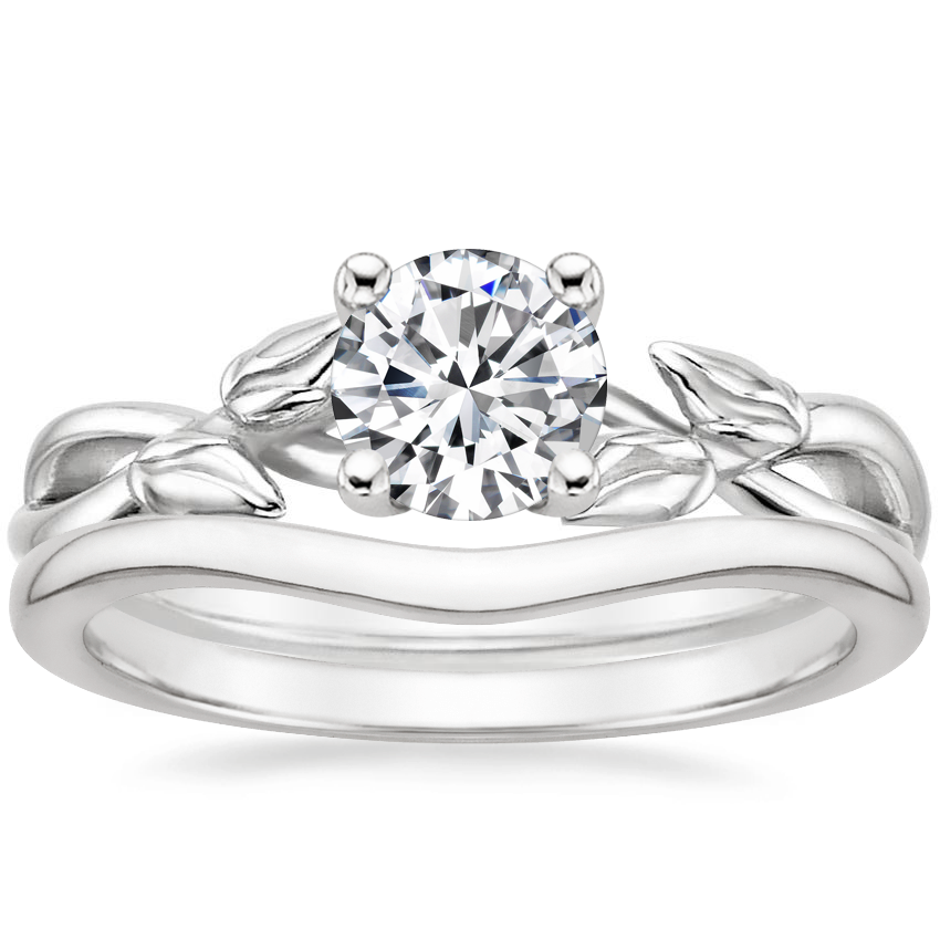 18K White Gold Budding Willow Ring with Petite Curved Wedding Ring