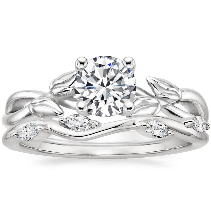 Platinum Budding Willow Ring with Winding Willow Diamond Ring (1/8 ct. tw.)