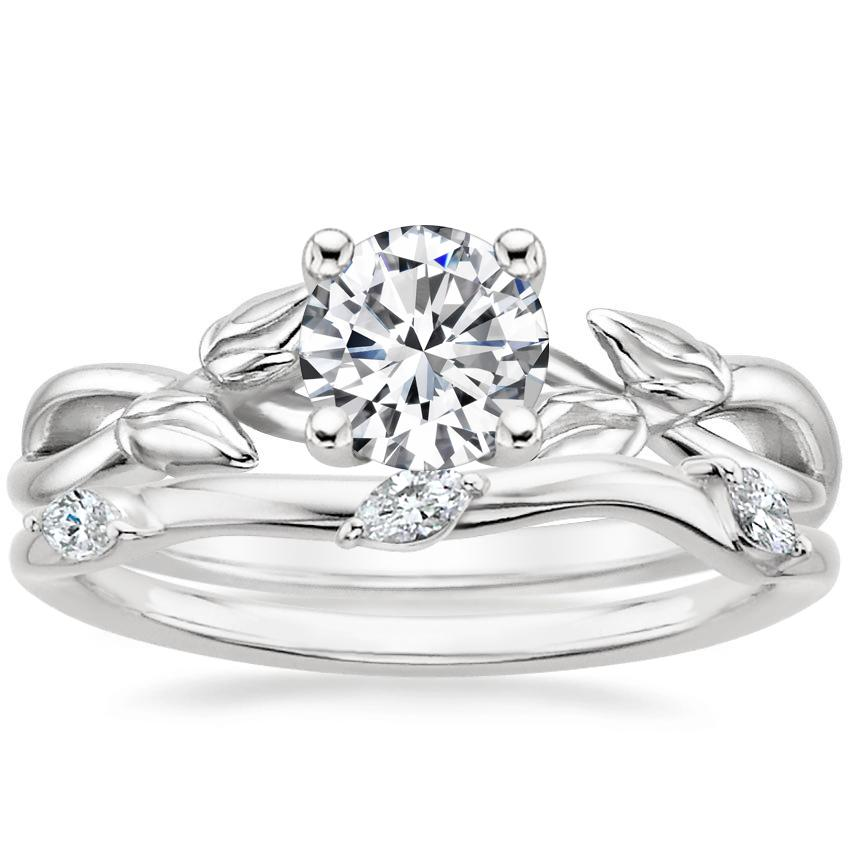 18K White Gold Budding Willow Ring with Willow Diamond Ring (1/10 ct. tw.)