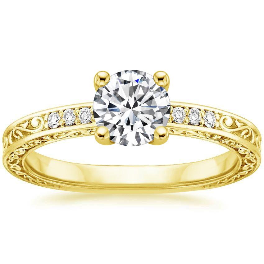 18K Yellow Gold Delicate Antique Scroll Diamond Ring, top view