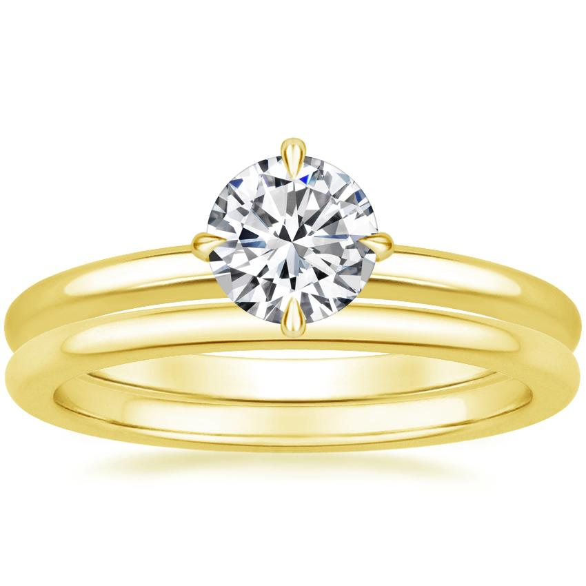 18K Yellow Gold North Star Ring with Petite Comfort Fit Wedding Ring