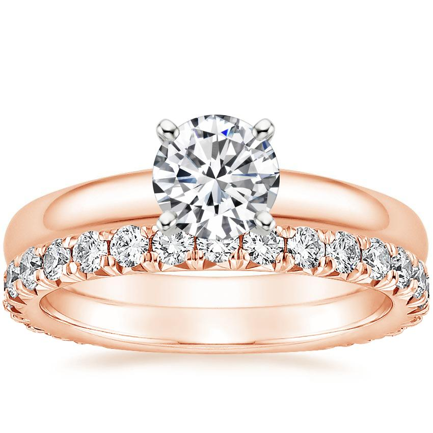 14K Rose Gold 3mm Comfort Fit Ring with Luxe Sienna Diamond Ring (5/8 ct. tw.)