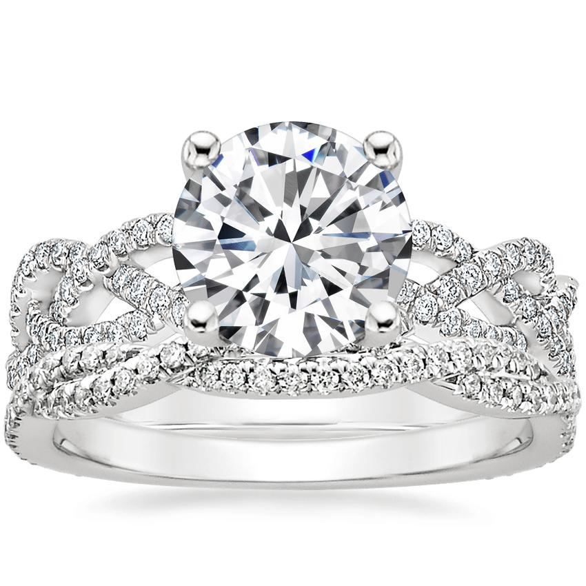 18K White Gold Solana Diamond Ring (1/3 ct. tw.) with Petite Luxe Twisted Vine Diamond Ring (1/4 ct. tw.)