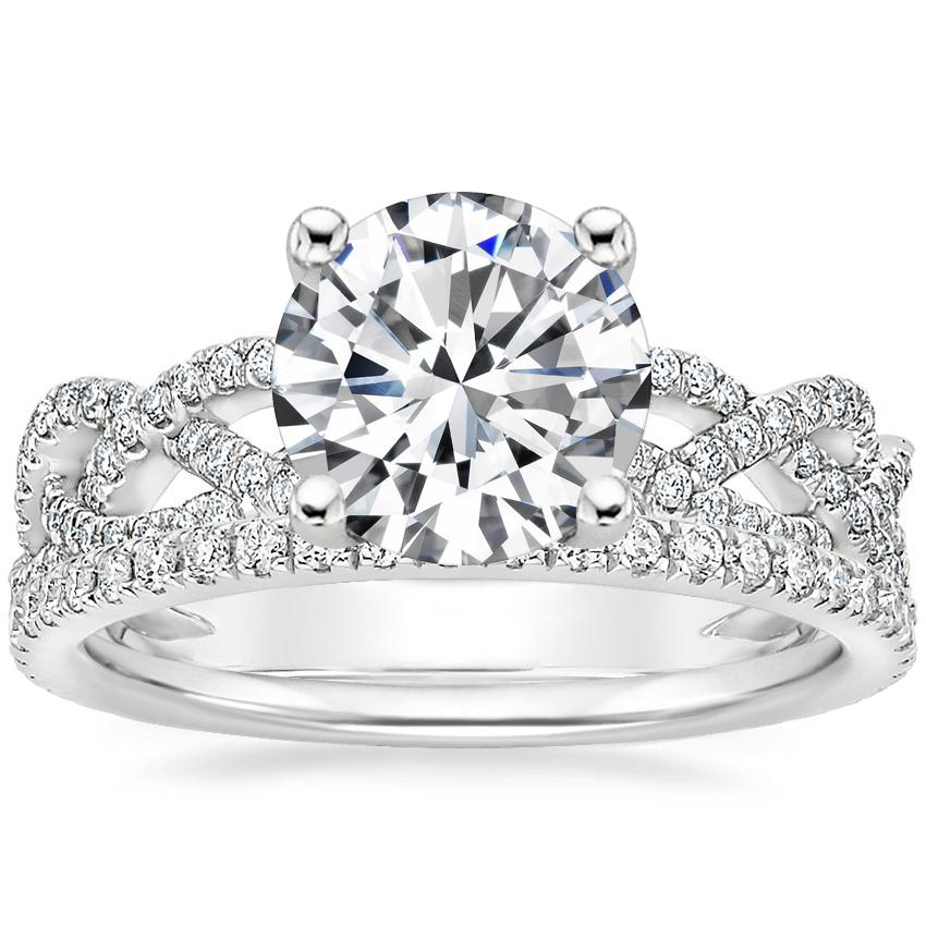 Platinum Solana Diamond Ring (1/3 ct. tw.) with Luxe Ballad Diamond Ring (1/4 ct. tw.)