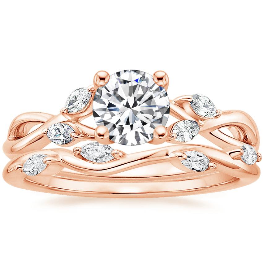 14K Rose Gold Willow Diamond Ring with Winding Willow Diamond Ring (1/8 ct. tw.)