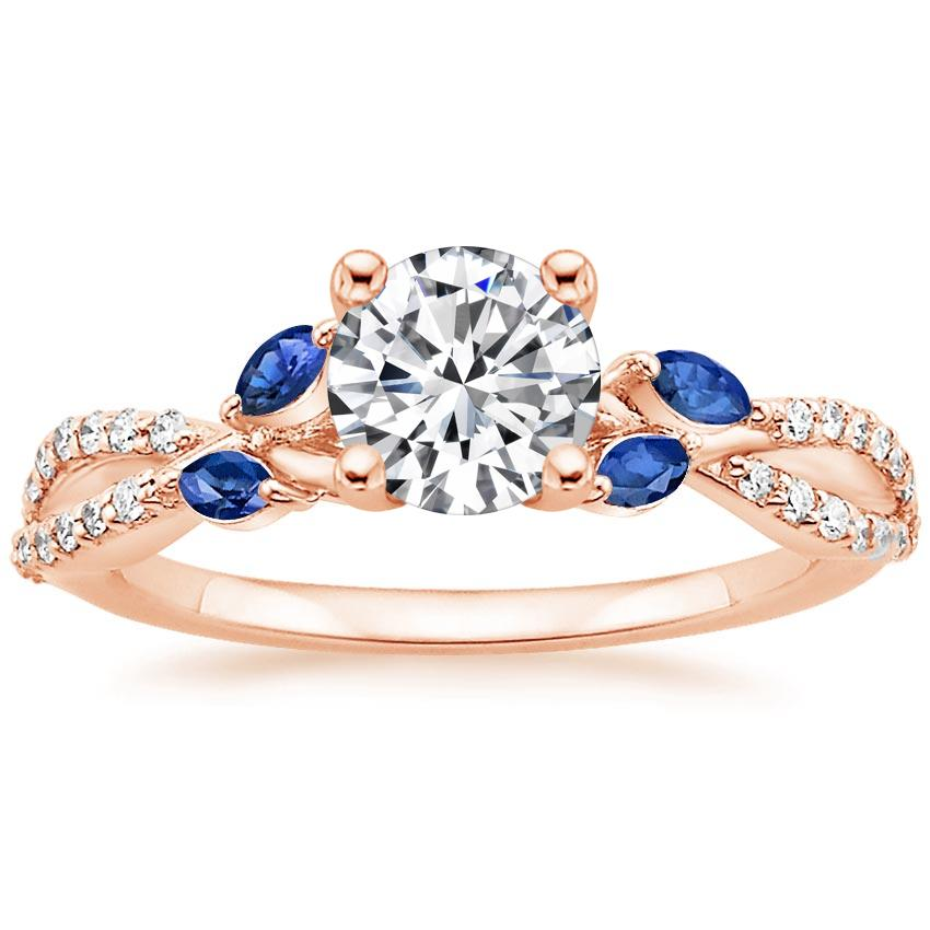 Round 14K Rose Gold Luxe Willow Sapphire and Diamond Ring (1/8 ct. tw.)