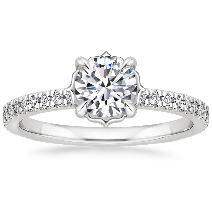 Round Platinum Magnolia Diamond Ring