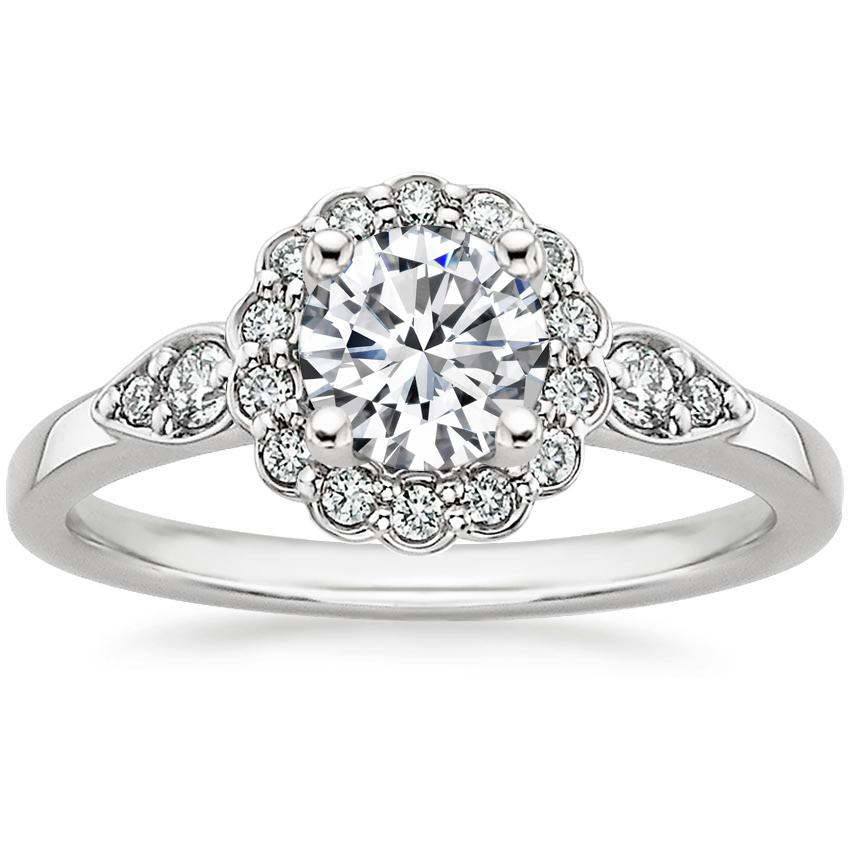 18K White Gold Camillia Diamond Ring, top view
