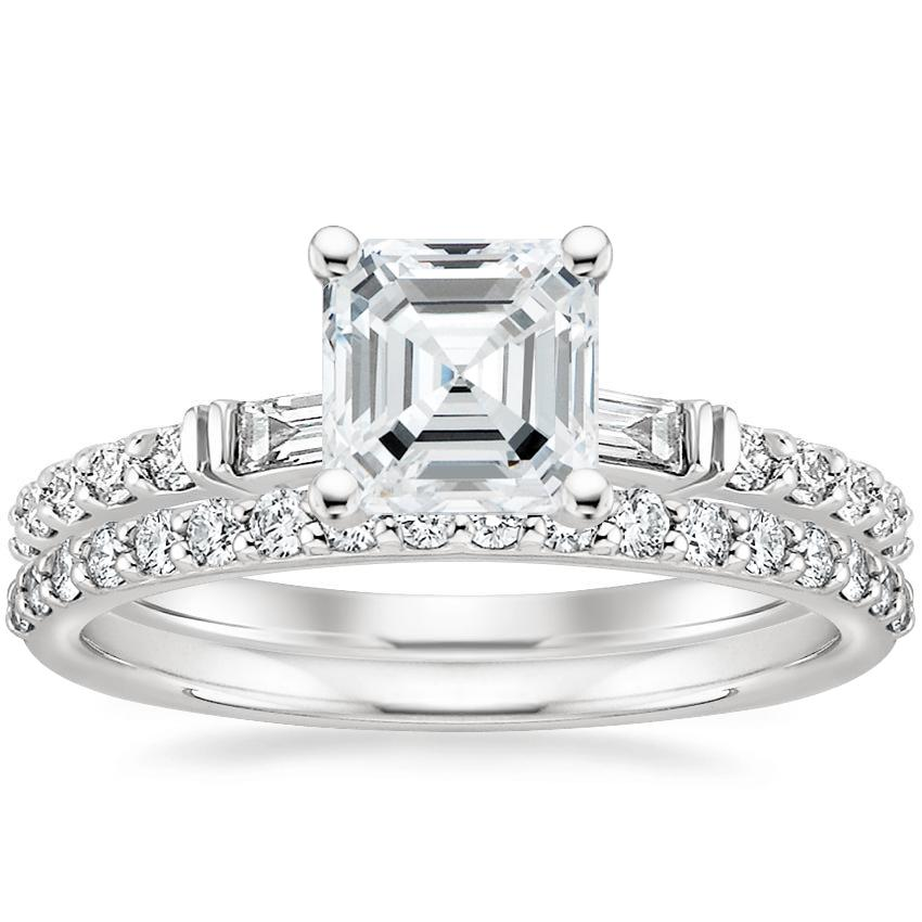 18K White Gold Regency Diamond Ring with Petite Shared Prong Diamond Ring (1/4 ct. tw.)