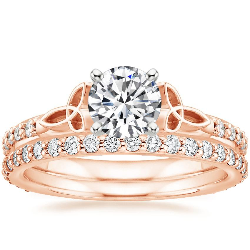 14K Rose Gold Luxe Celtic Love Knot Ring with Petite Shared Prong Eternity Diamond Ring (1/2 ct. tw.)